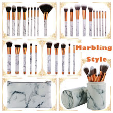 5/9/10pcs/Set Pro Marbling Makeup Brushes Powder Foundation Eye Shadow Lip Marble Make Up Beauty Tools Kit With Brush Holder/Bag(China)