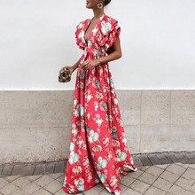 Women Summer Beach Red Boho Dress Tunic Ruffle Floral Dress Plus Size Ladies Long Dress