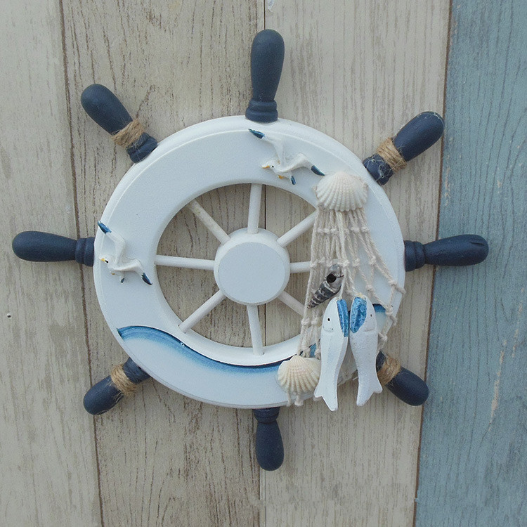 1PC <font><b>Wooden</b></font> Mediterranean Boat Rudder Fishing Net <font><b>Seabirds</b></font> Lifebuoy Home Wall Nautical Decoration Anchor Steering Wheel MP 002 image