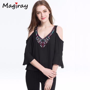 Bohemian Embroidery Chiffon Blouse Cold Shoulder Shirt Women 2020 Summer V-neck Short Sleeve Tops Female Ladies Clothing cold shoulder striped flounce blouse