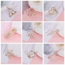 Jewelry Hairwears Hair-Ornament Flower Circle Simulated-Pearl-Hairpins Geometric Heart