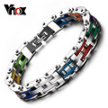Vnox Silicone Stainless Steel Bracelet Men Bangle Rainbow Color 316L Stainless Steel 20cm