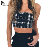 TASTIEN Zipper Black And White Plaid Women Tube Top Backless Sexy Slim Wrap Chest Club Party