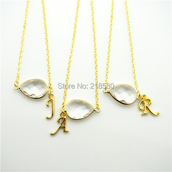 Qn333 gold initial necklaceclear crystal bezel crystal necklace qn333 gold initial necklaceclear crystal bezel crystal necklacebirthstone crystal necklacebridesmaid aloadofball Image collections