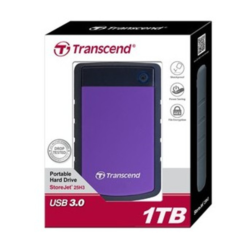 U S Military grade Anti shock Protection Transcend 25H3 USB 3 0 External Hard Drive 1TB