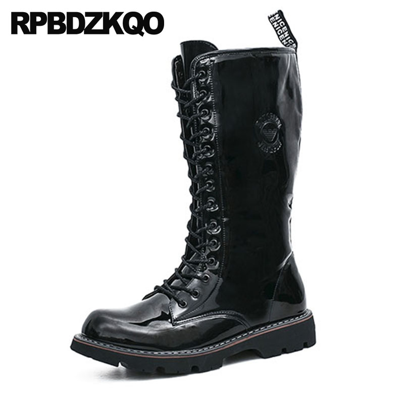 Zipper Fashion Black Waterproof Military Shoes Combat Army Non Slip Plus Size Autumn Tall Mid Calf Mens Patent Leather Boots mens winter boots warm military mid calf durable army 2017 fashion combat motorcycle high top shoes lace up autumn black male