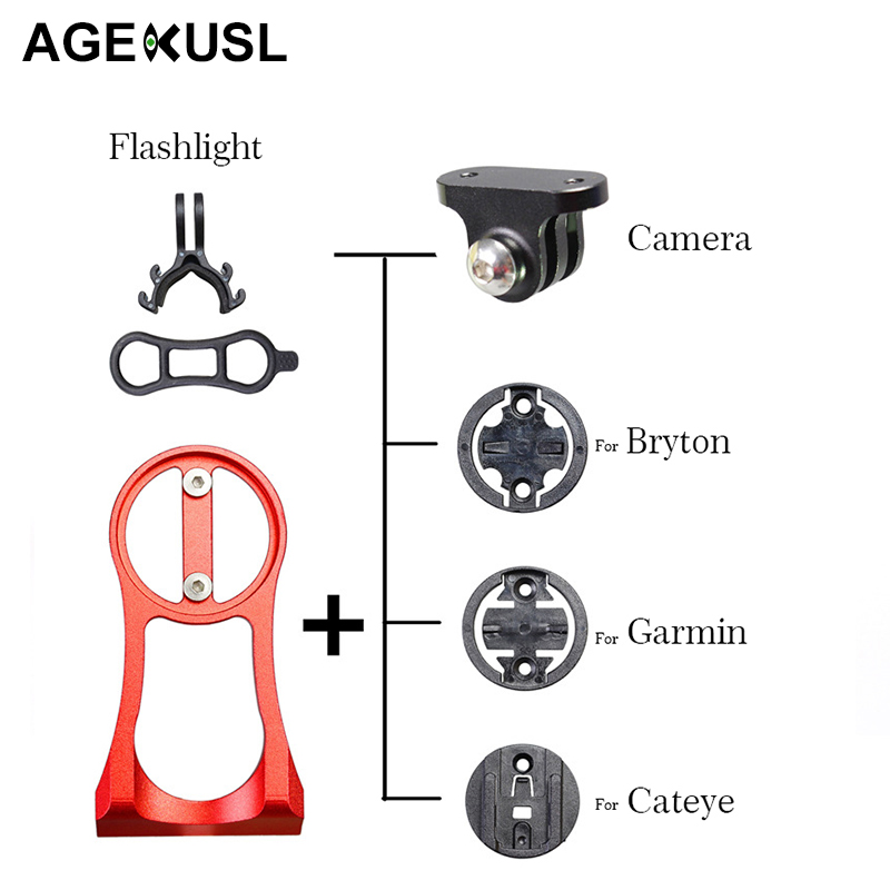 AGEKUSL Cycling Bike Bicycle Computer Speedometer Camera Light Mount Holder For Bryton 310 330 530 Garmin Edge 200 520 Cateye
