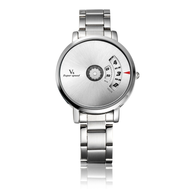 2017 V6 Fancy Rotate Water Resist Quartz Watch Men Bracelet Vintage man Dress Relojes full steel male wristwatch