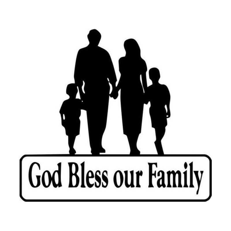 15cm*13.3cm God Bless Our Family To Remind The Car Styling Safety Vinyl Window Decals C5-0490