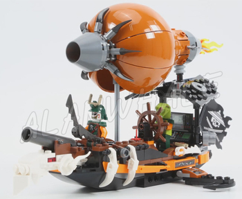 318pcs Ninja Raid Zeppelin Zane's Flyer Airship Doubloon 10448 Figure Building Blocks Children Toys Compatible With 2