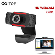 DOITOP Webcam HD 720P PC Computer Web Camera Video Record USB Microphone Camera With Absorption Microphone For Laptop Camcorder