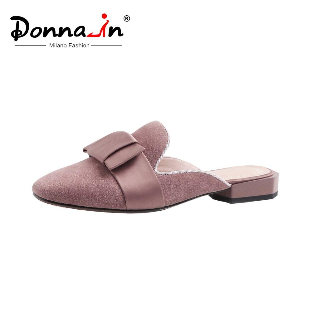 Ayakk.'ten Terlikler'de Donna in Kadın Katır bağcıksız ayakkabı Hakiki Deri moda terlikler Sandalet Yaz Kare Ayak Slaytlar Zarif Yay Bayan Ayakkabıları'da  Grup 1