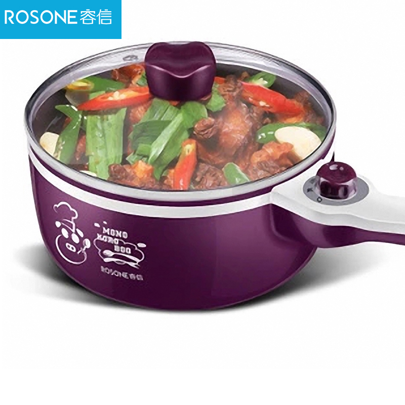Kitchen household electric cooking pot slow cooker can cook soup multi-function Electric pot 700W purple 1 5l electric cooker multifunction cooking stew pot mini hot pot cooking rice soup cooking noodles