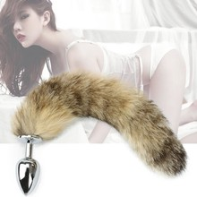 North Fox tail anal plug metal Medium font b sex b font toys for couples toys