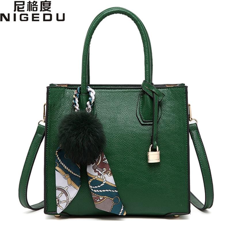 NIGEDU women handbag satchel of famous brands leather Shoulder bag luxury designer women totes Crossbody Bags with fur ball