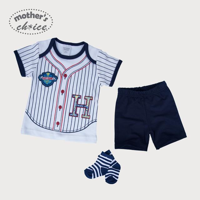 Mães escolha 100% algodão 3 pcs um conjunto-macacão de manga curta Bebê calças e meias