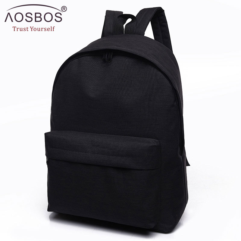 Aosbos Men Male Canvas Black Backpack College Student School Backpack Bags For Teenagers Mochila Casual Rucksack Travel Daypack