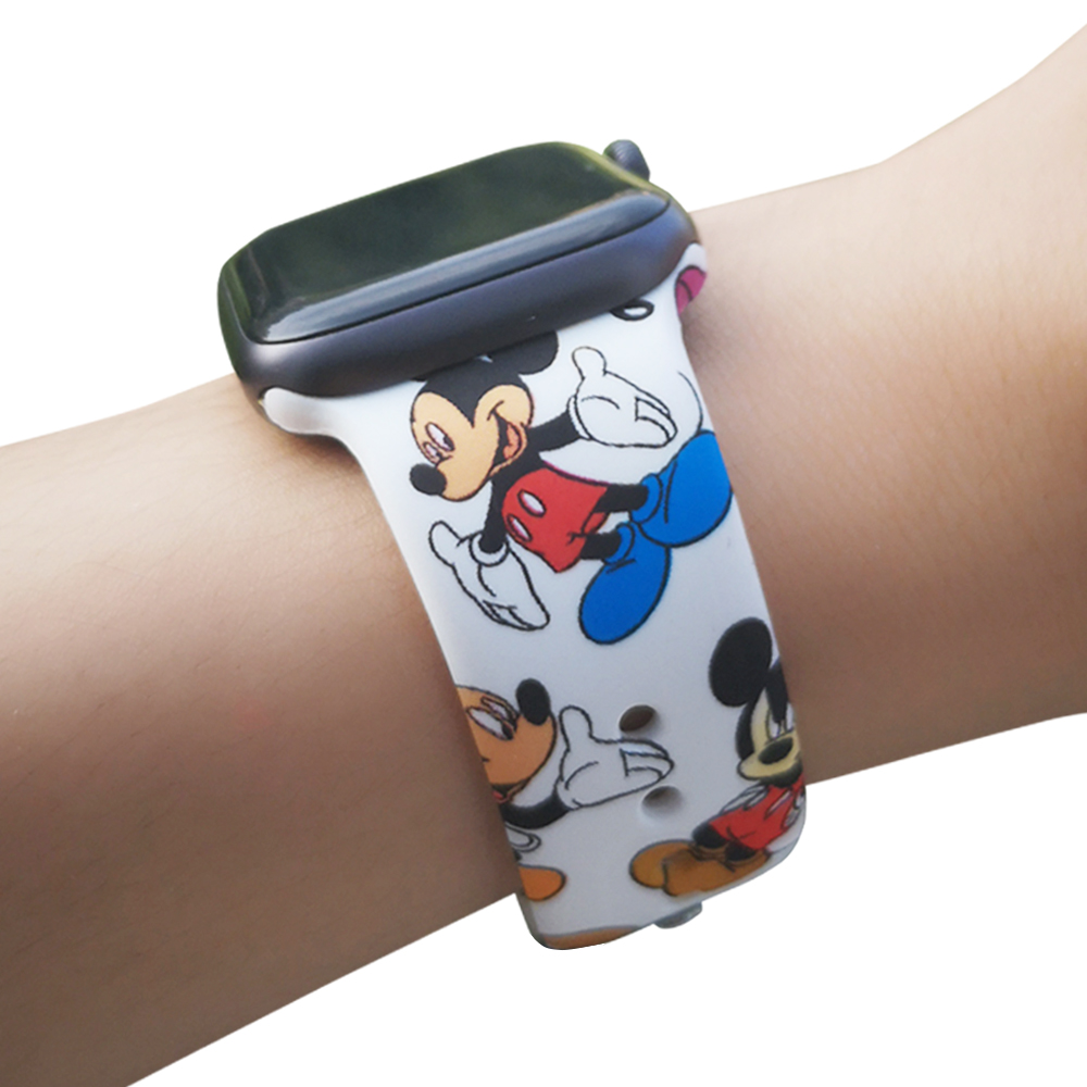 Sport Silicone Band for Apple Watch 38mm 42mm 40mm 44mm Soft Strap Cartoon Mouse Woman Men Bracelet for iwatch Series 5 4 3 2 1 image