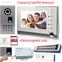 7 Color Lcd Video Intercom With Recording Take Photos 8GB Free SD Cards Fingerprint Keypad IP65