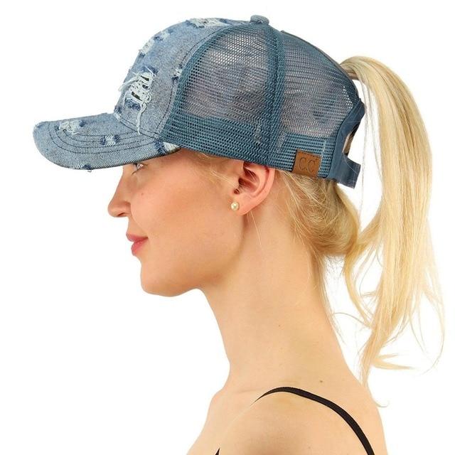 Women Ponytail Baseball Cap High Bun Ponycap Messy Adjustable Mesh Visor  Sun Cap 5366d3e7481