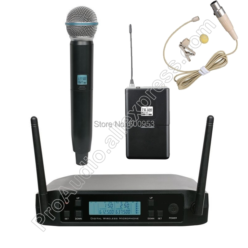 micwl blx24 1 handheld 1 beige lapel wireless microphone system for karaoke church club uhf 610. Black Bedroom Furniture Sets. Home Design Ideas