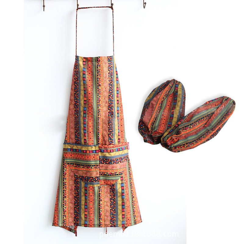 Ethnic Style Striped Pattern Linen & Cotton Cooking Apron