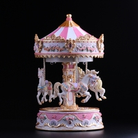 2018 Musical Box Free Shipping Merry go round Music Box With Lamp Moving Up And Down Lifting Birthday Present For Male Girl