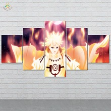 Flaming Naruto Anime Wall Art HD Prints Canvas Painting Modular Picture And Poster Decoration Home 5 PIECES