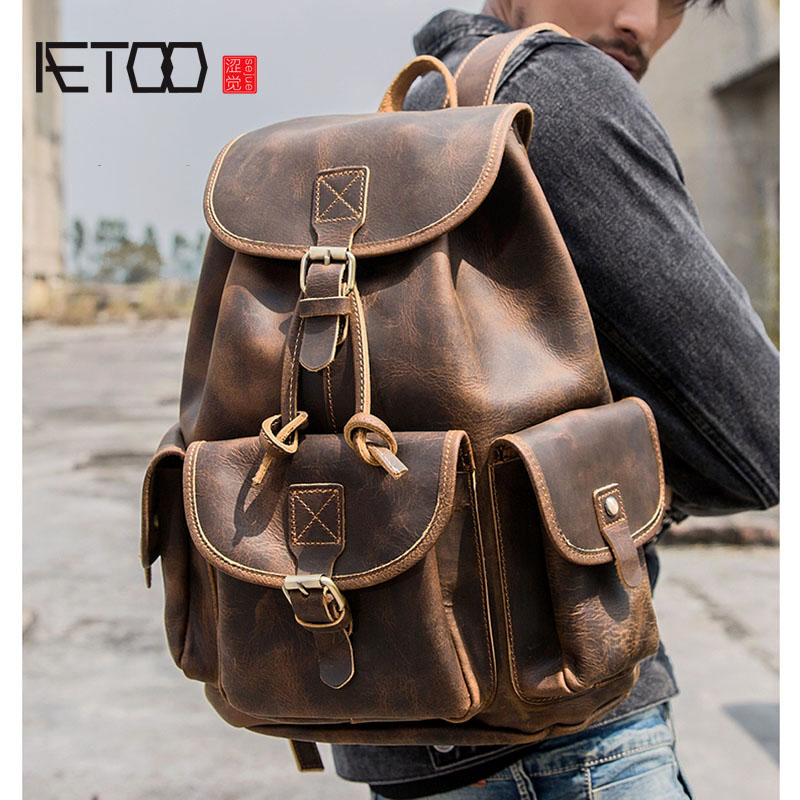 AETOO Men's handmade retro crazy horse leather shoulder bag first layer cowhide large capacity backpack female travel bag litera aetoo spring and summer new leather handmade handmade first layer of planted tanned leather retro bag backpack bag