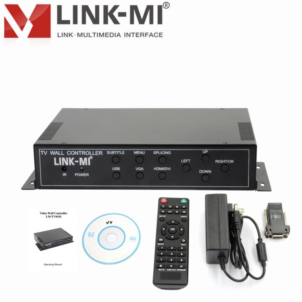 LM-TV04M 2x2 Video Wall Controller VGA/HDMI/USB/DVI RS-232 for LCD TV, ultra narrow LCD screen projection HD screen splicing переходник aopen hdmi dvi d позолоченные контакты aca311