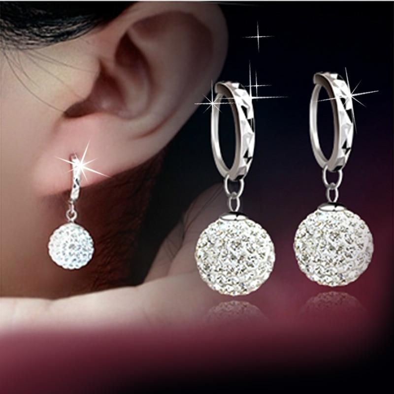 Silver Plated crystal women earrings long earrings fashion Drop earrings Shambhala fashion jewelry