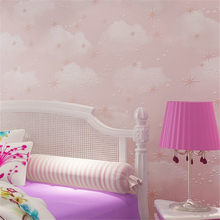 Blue sky white clouds stars 3d wallpaper pink blue yellow roll children bedroom decor 3D Beibehang