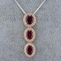 Las mujeres de La Joyería Oval 7x9mm Tres Granates Naturales 14kt Oro Amarillo de La Boda Colgante WP021