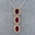 Women Jewelry Oval 7x9mm Three Natural  Garnets Solid 14Kt Yellow Gold Wedding Pendant WP021