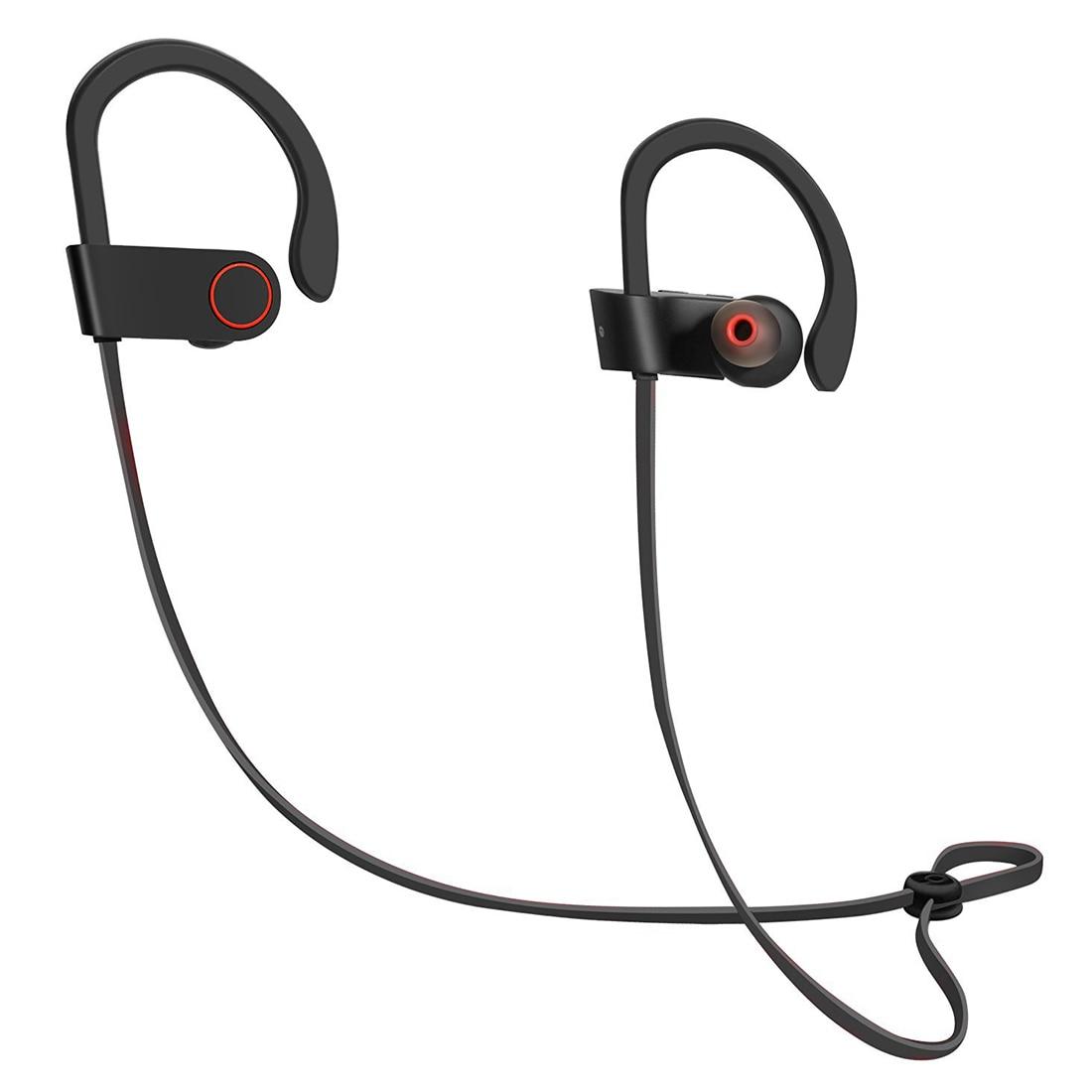 Écouteurs sans fil Bluetooth écouteurs anti-transpiration dans l'oreille écouteurs sécurisés réduction du bruit des basses avec micro pour Android