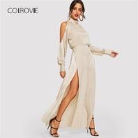 COLROVIE Apricot Turtleneck Cold Shoulder Slit Winter Party Dress Women 2018 Autumn High Waist Sexy Dress Elegant Maxi Dresses
