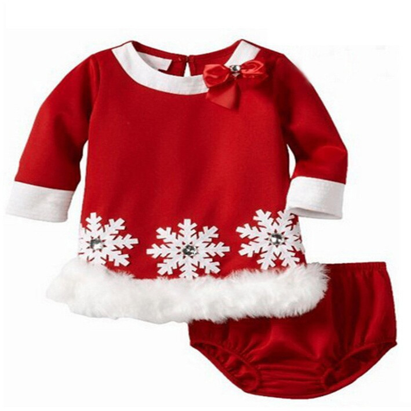 kids christmas dress snow floral long sleeve dress shorts cute baby girls bowknot red color christmas 2pcs clothing set in dresses from mother kids on