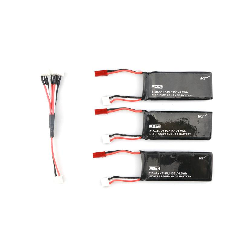 3PCS JST Plug 7.4V 610mAh 15C 4.5Wh Battery For Hubsan H502S H502E RC Quadcopter  IUNEED TOY Store