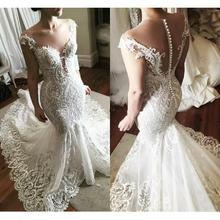 ELNORBRIDAL Luxury Lace Mermaid Wedding Dresses Sweep Train
