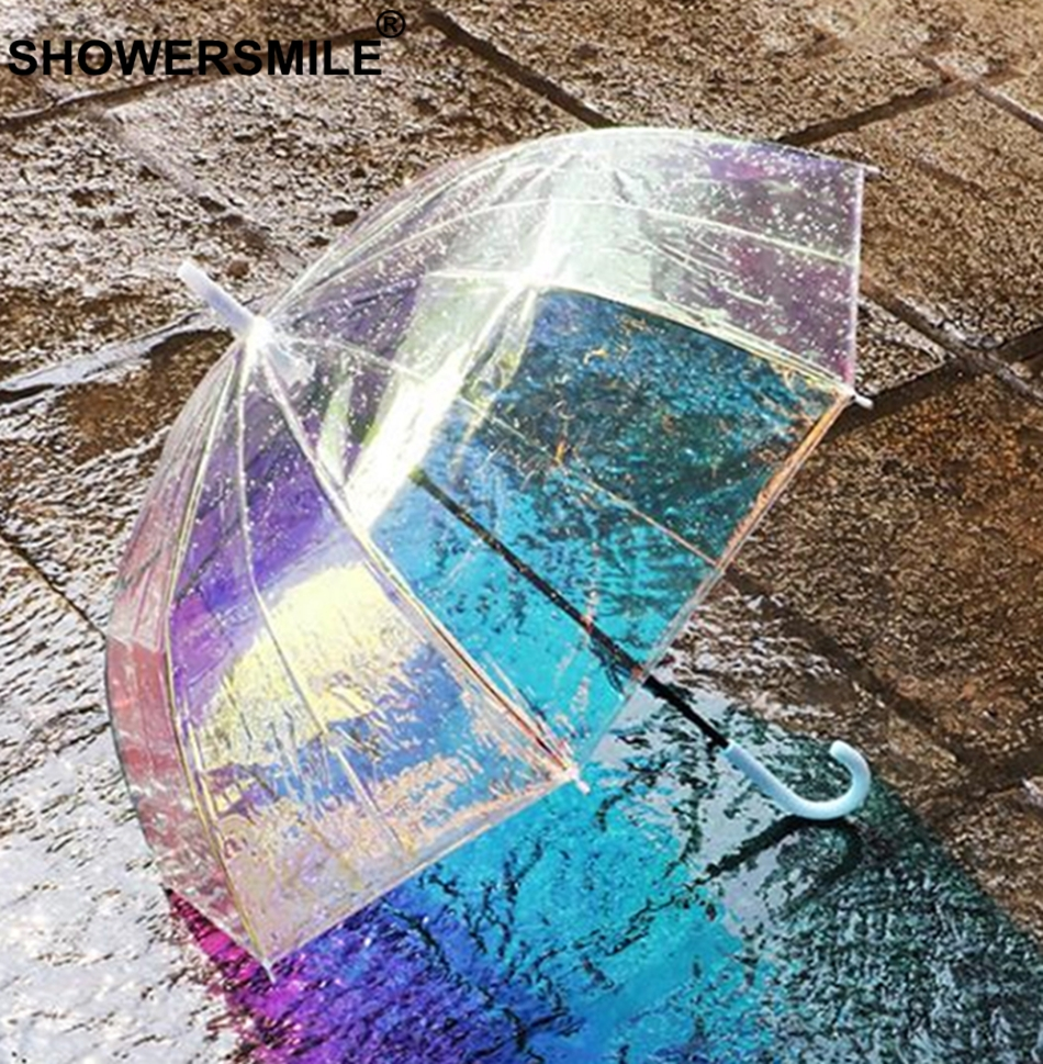 SHOWERSMILE Umbrella Change Color Transparent Long-Handle Rain See Through Clear