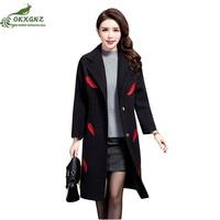 New middle aged autumn coat women high end woolen coat female middle length section large size woolen Outerwear tide OKXGNZ