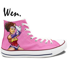 Wen Hand Painted Shoes Design Custom African American Wonder Woman Pink Women's High Top Canvas Sneakers Birthday Gifts