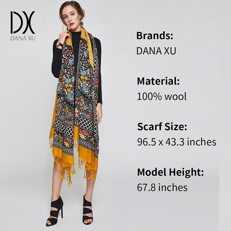 DANA XU 2019 Neue Luxusmarke Übergröße 100% Wolle Gelb pashmina - Bekleidungszubehör - Foto 3