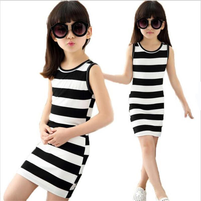 2018 Summer Girls Dress black and white stripes dresse 100% Cotton baby girl clothes 3-14 vest Kids Clothes Baby Girls Dresses kids baby girls long sleeve lace dresses one piece dots deer cotton girl dresse toddlers clothes
