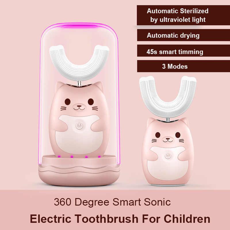 เด็ก 360 โซนิคไฟฟ้าแปรงสีฟันน่ารักการ์ตูนไฟฟ้าฟันแปรงซิลิโคนเด็กอัตโนมัติแปรงฟัน