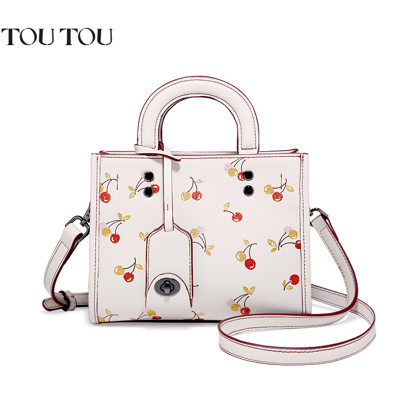 TOUTOU bags handbags women famous brands The new cartoon cherry one shoulder inclined package printing handbag fashion the new winter handbags in europe and the tide crocodile grain female bag brand shell package one shoulder inclined shoulder bag