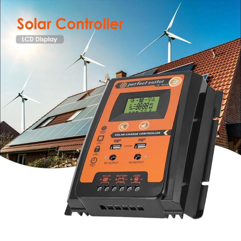 Dual USB LCD Display Charge Controller 12/24V 30A 50A 70A Solar Charge Controller Solar Panel Battery RegulatorDual USB LCD Display Charge Controller 12/24V 30A 50A 70A Solar Charge Controller Solar Panel Battery Regulator