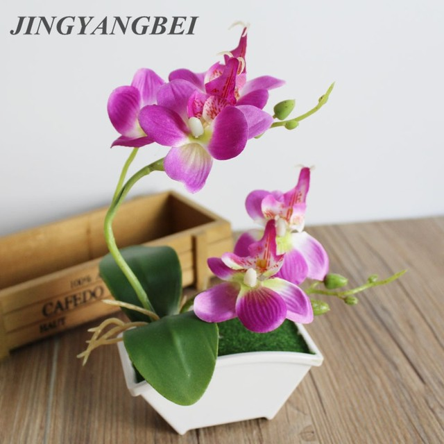 Spring artificial silk flowers orchid bonsai with vase set table spring artificial silk flowers orchid bonsai with vase set table decoration fake plant tree butterfly orchid mightylinksfo