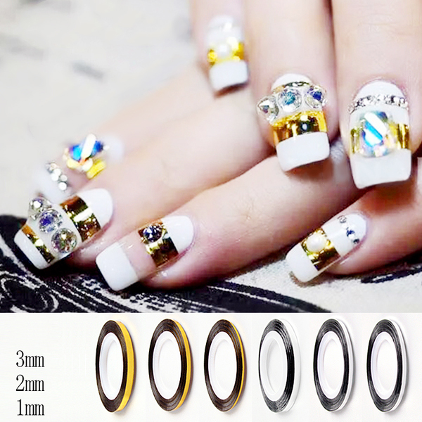3pcs/set Fashion Gold Silver Nail Art Rolling Striping Tape Gold Silver Nail Art Line Tape Multi-size 1mm/2mm/3mm top nail 20 rolls of laser gold silver glitter striping tape line nail art tips decals beauty transfer foil stickers for nails