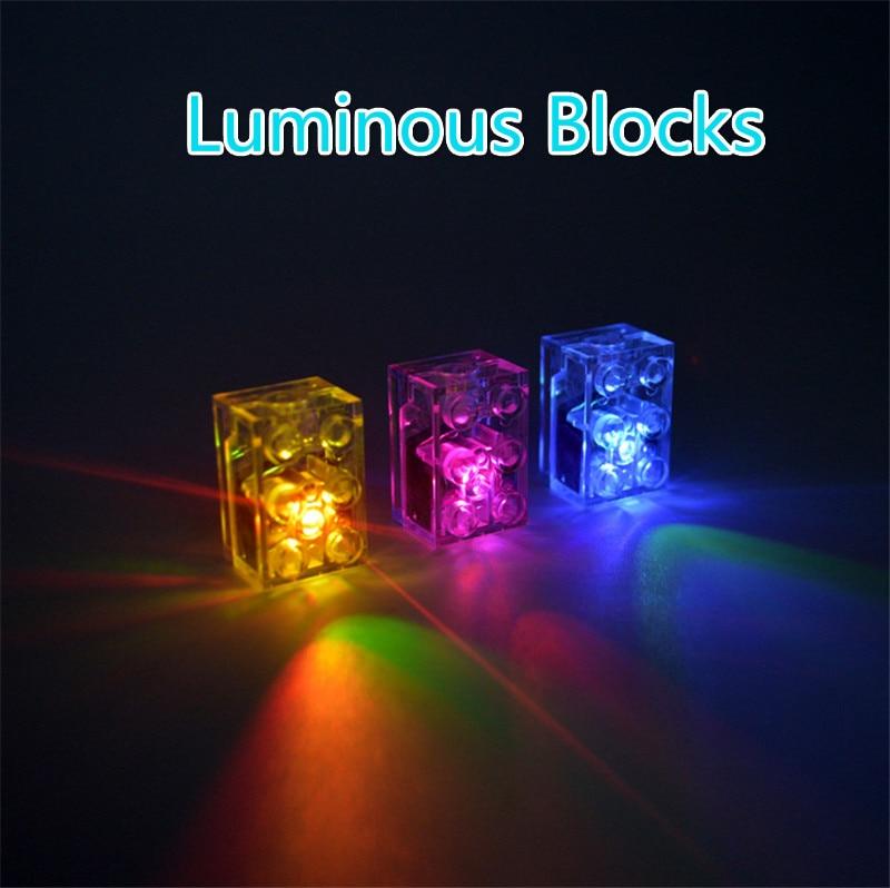 5pcs/lot Luminous Blocks LED Light Diy Strobe Luminescent Double Flash Lamp Colorful Light Accessories Bricks Toys For Children